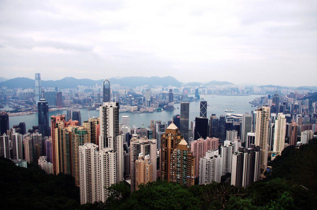 Blick vom Vitoria Peak auf die Skyline von Hongkong