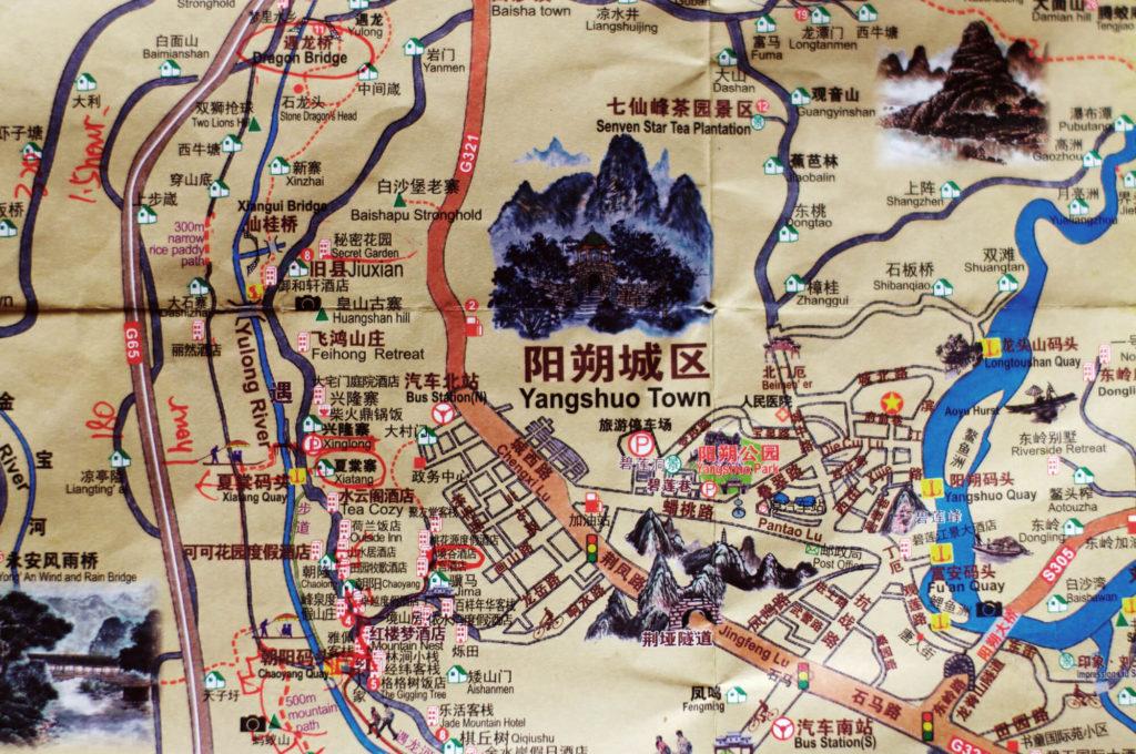 Ausschnitt Landkarte Yangshuo in China