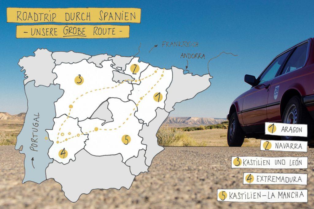 Roadtrip durch Spanien - unsere Route auf einen Blick