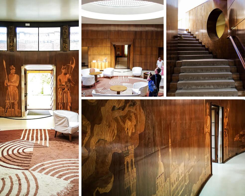 Eingangsbereich Eltham Palace mit Holzvertäfelung und Intarsien