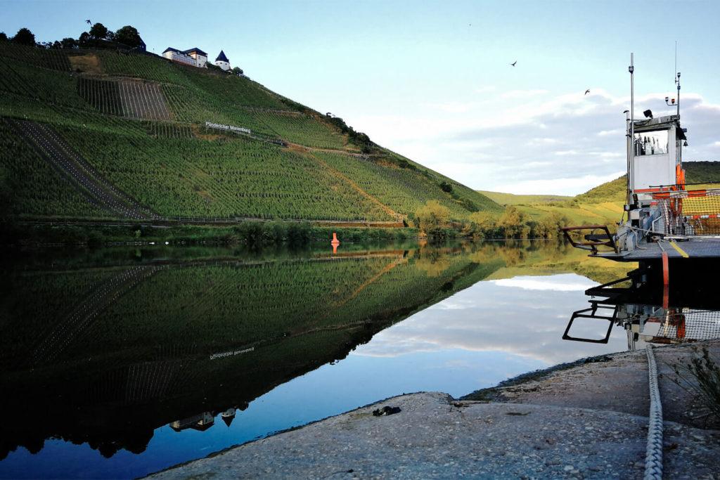Am Moselufer in Pünderich - Blick auf Weinberge und die Marienburg